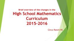 High School mathematics Curriculum Update 2015-2016