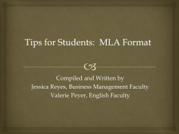 MLA Format - Temple College