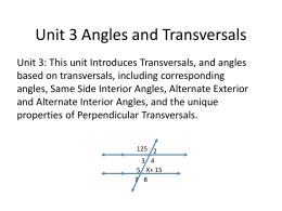 Unit 5 Angles and Transversals