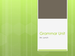 Grammar Unit - Reeds Spring High School