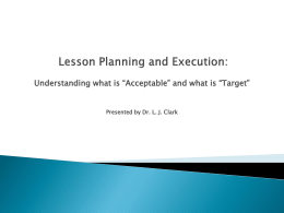 Lesson Planning and Execution: