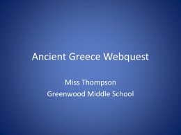 Ancient Greece Webquest - Greenwood School District