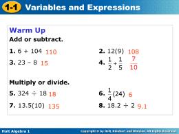 Holt Algebra 1 1-2