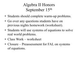 Algebra II Honors September 15th
