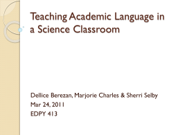 Academic Language In Science