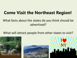 Come Visit the Northeast Region!