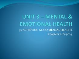 Mental/Emotional Health - Centerville Public Schools