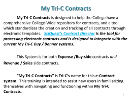 My Tri-C Contracts - training slides