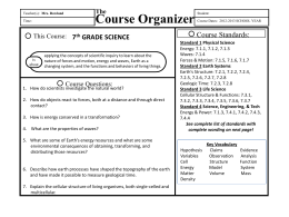7th Grade Science Course Organizer