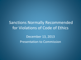Proposed Sanctions for Violations of Code of Ethics