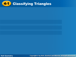 Section 4-1 Classifying Triangles