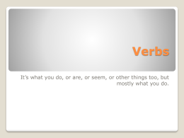 Verbs - Merrillville Community School