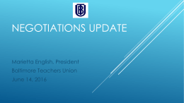 Negotiations update - Baltimore Teachers Union
