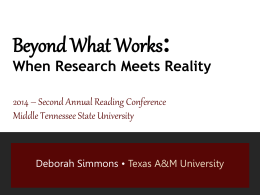 Beyond What Works - Middle Tennessee State University