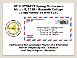 Mark your calendars! - NYSAFLTRochester