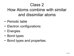 Class 2 How Atoms combine with similar and dissimilar atoms