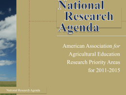National Research Agenda - American Association for Agricultural