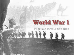 Lesson 1 : World War 1 Begins
