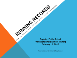 Running Records - Edgerton Public School