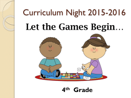 4th Grade Curriculum Night Slide Show 15-16