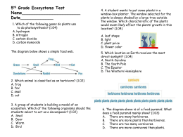 5 th Grade Ecosystems Test - danbarber