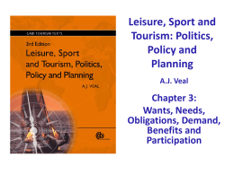 Leisure, Sport and Tourism: Politics, Policy and Planning