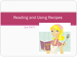 Reading and Using Recipes