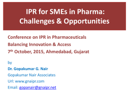 IPR for SMEs in Pharma