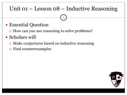 Lesson 08 – Inductive Reasoning