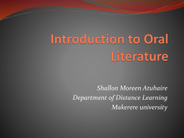 Introduction to oral literature