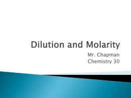 Dilution and Molarity - Chapman @ Norquay School
