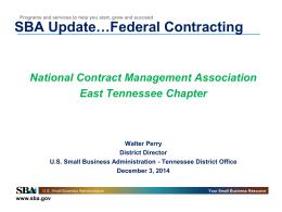 SBA Update for NCMA East TN Chapter