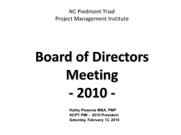 NCPTPMI 2010 BoD Planning Meeting