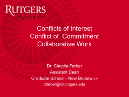 Conflicts of Interest / Conflict of Commitment / Collaborations