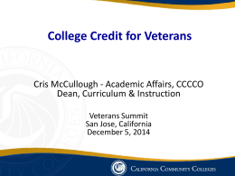 College Credit for Veterans