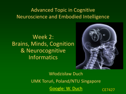 CE7427: Cognitive Neuroscience and Embedded Intelligence
