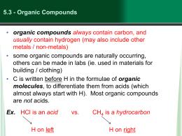 5.3 - Organic Compounds