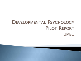 Developmental Psychology Pilot Report