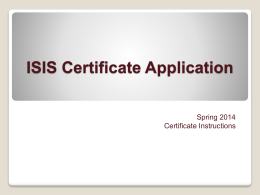 ISIS Graduation Application - Campus Certificate in Public Health