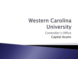 Fixed Assets - Western Carolina University