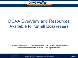 DCAA Overview and Resources Available for Small Businesses