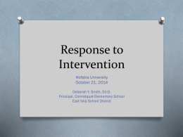 Response to Intervention - Hofstra ASCD Student Chapter