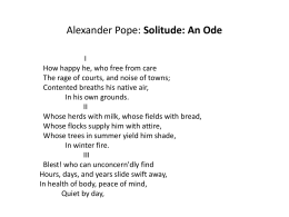 Alexander Pope: Solitude: An Ode