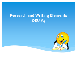 Research and Writing Elements OEU powerpoint