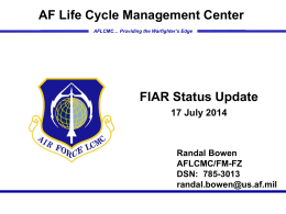 FIAR Status Update 17 Sep 13