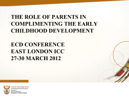 The Role of parents in complimenting the ECD programme