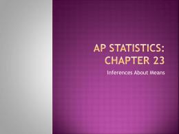 AP Statistics: Chapter 23