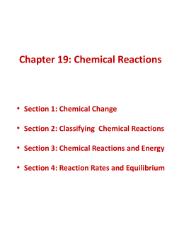 Chapter 19: Chemical Reactions