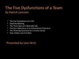 Five dysfunctions slides
