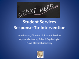 Student Services Response-To-Intervention